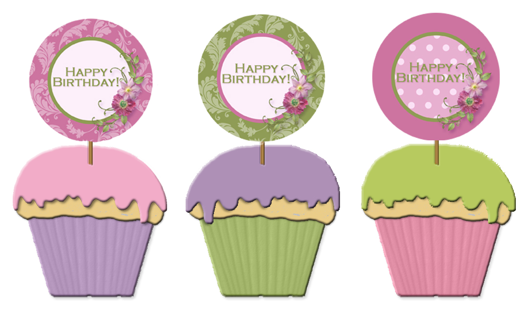 Free Printable Images Of Cupcakes : free printable birthday cupcake toppers Printable Party Kits