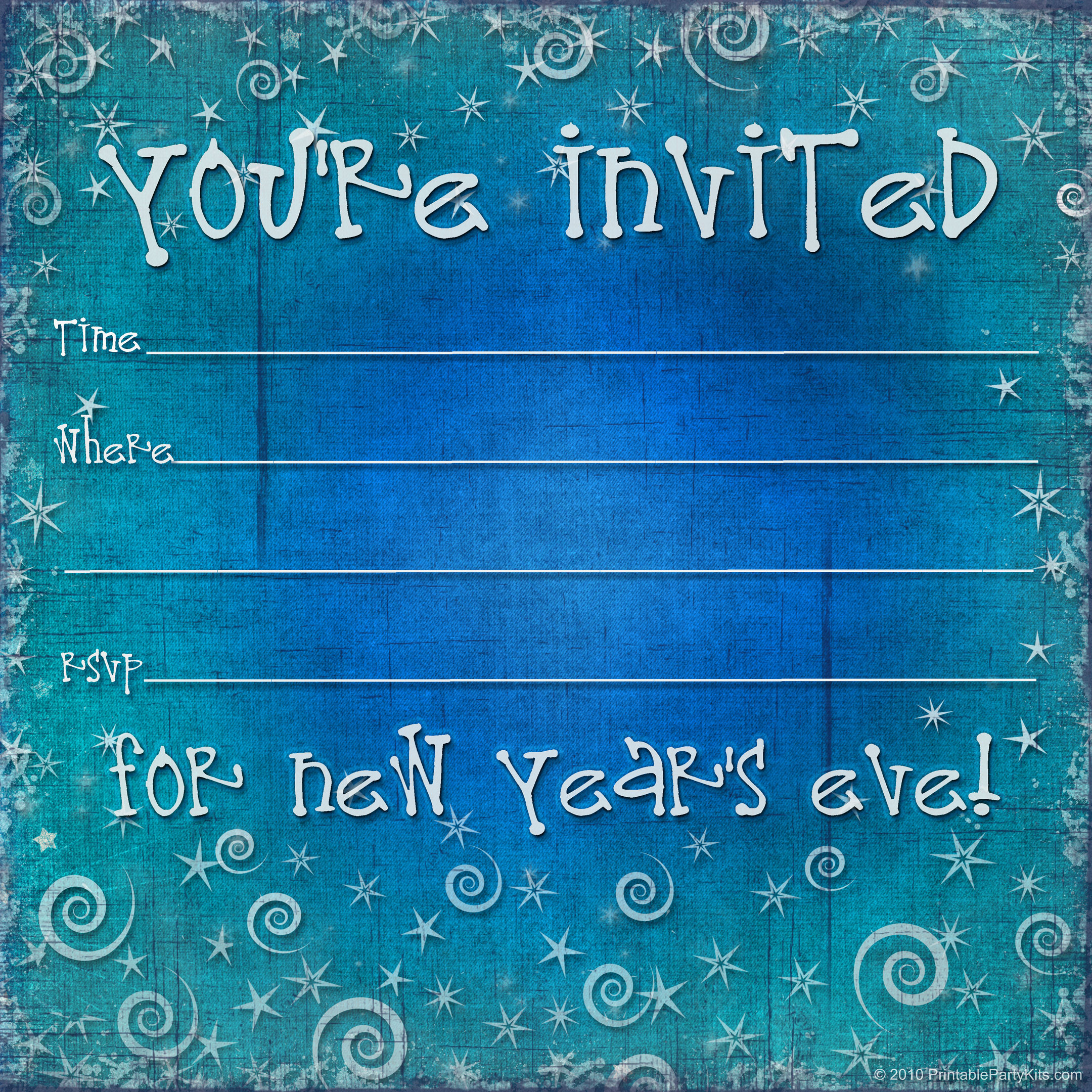 Free printable new years eve party invitation template for New year invite templates free