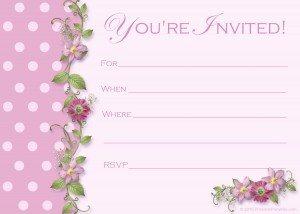 free pink polka dot party invitations
