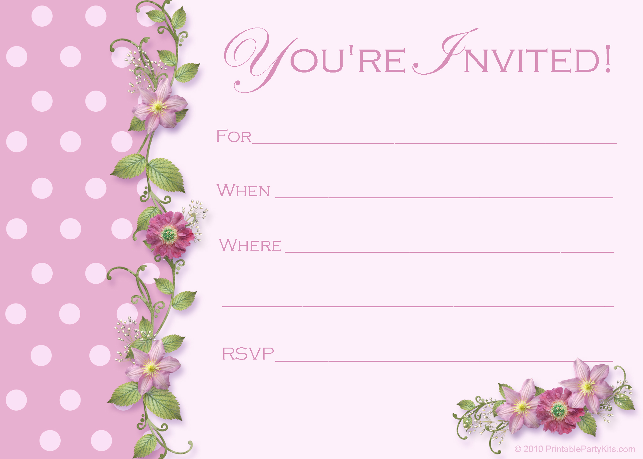 Free Pink Polka Dot Party Invitations | Printable Party Kits