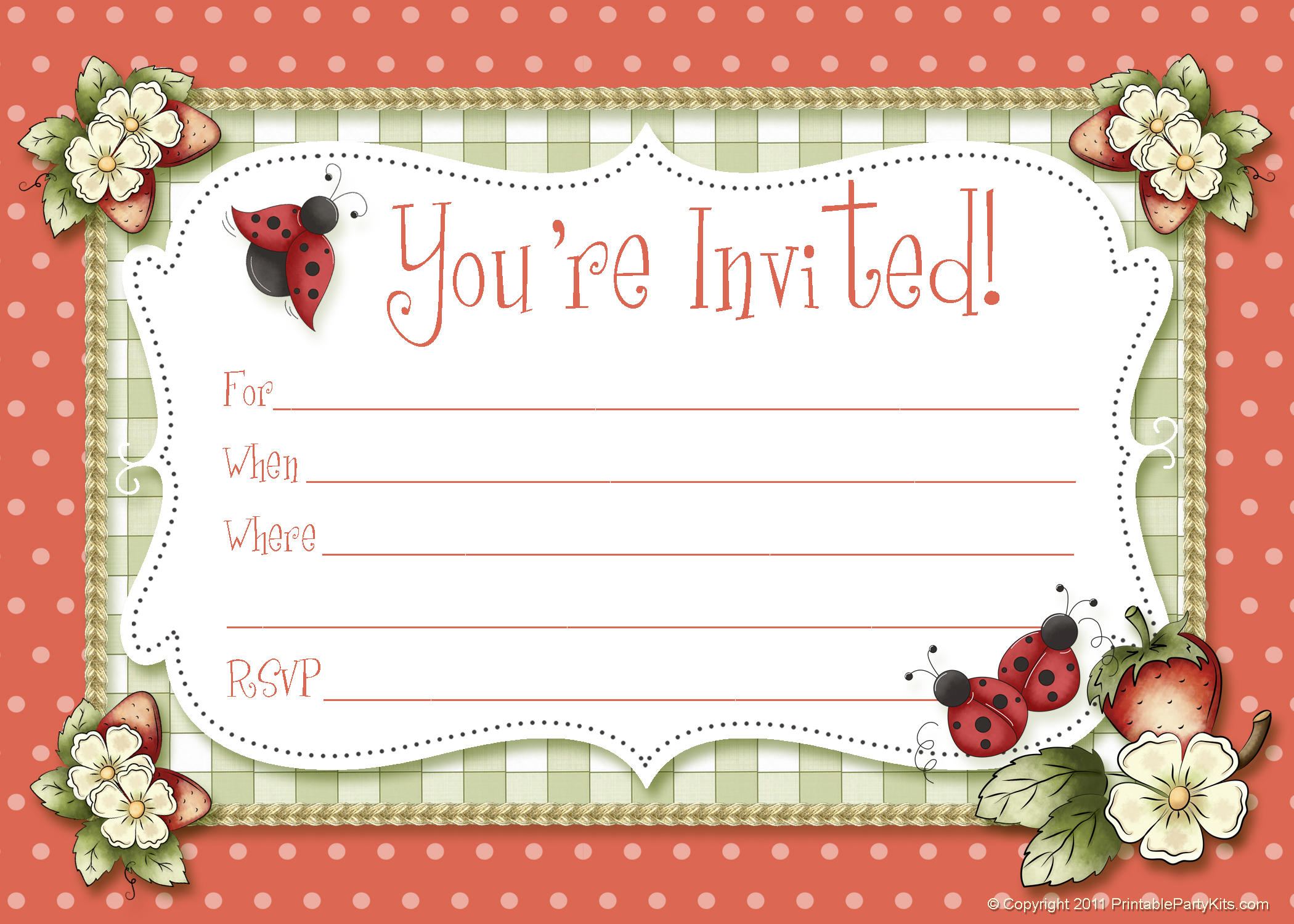 summer printable party kits ladybug party invitations