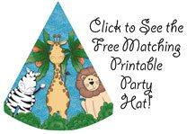 free printable safari animal birthday party hats