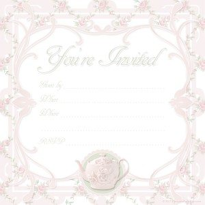 free printable pink Victorian tea party invitation