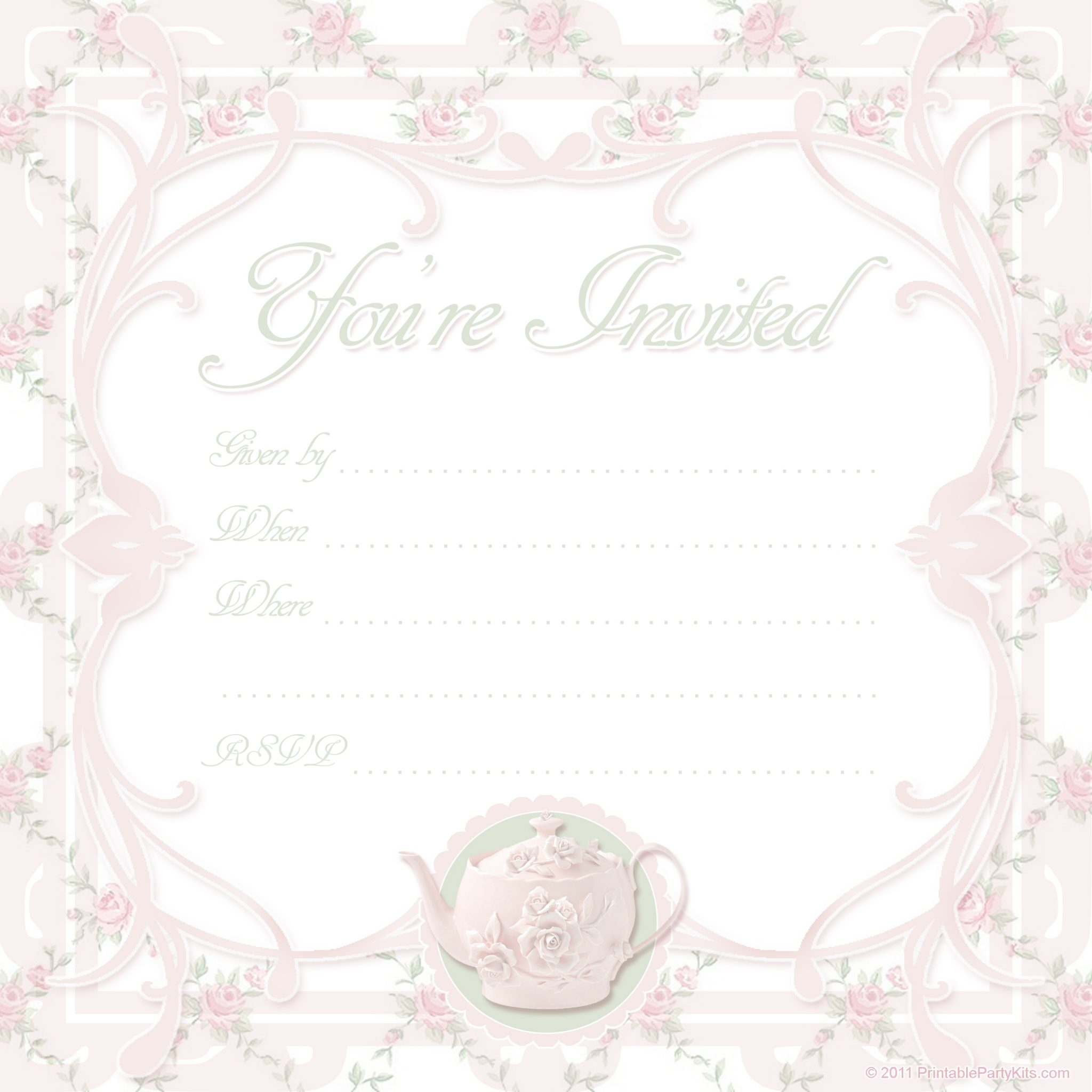 Click on the free printable tea party invite template below to enlarge ...