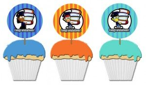 African American, Asian and Caucasian graduation cupcake toppers