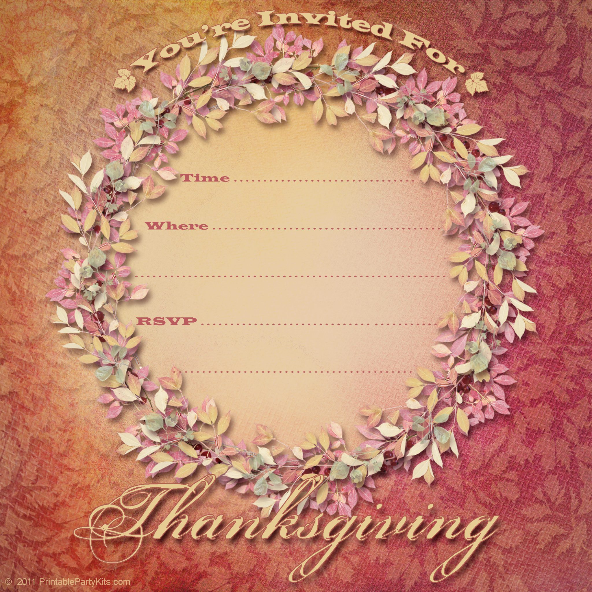 Click On The Free Printable Thanksgiving Dinner Invitations Template Below  To Enlarge And Download It.