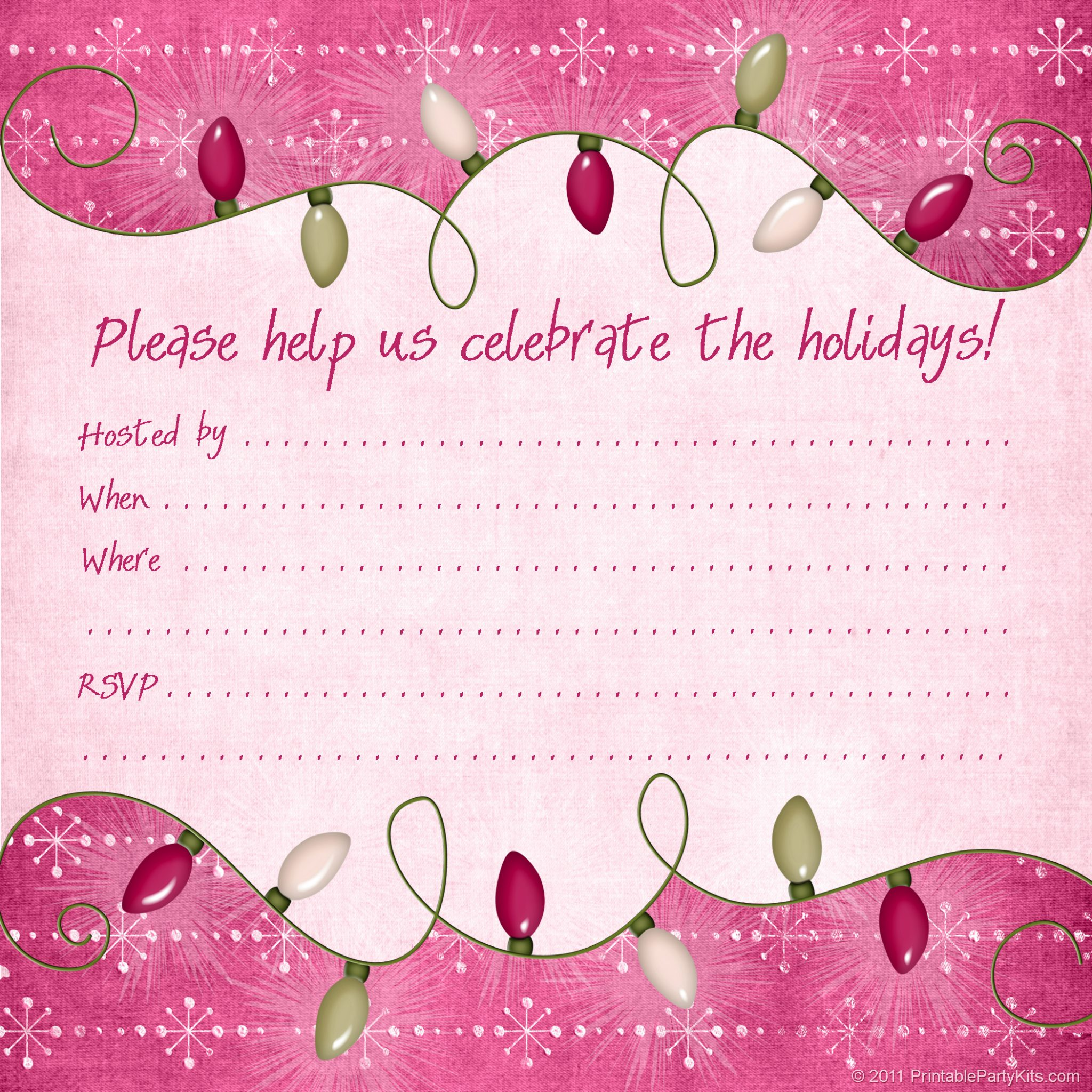 Free printable christmas and holiday party invitations for Free holiday invitation templates
