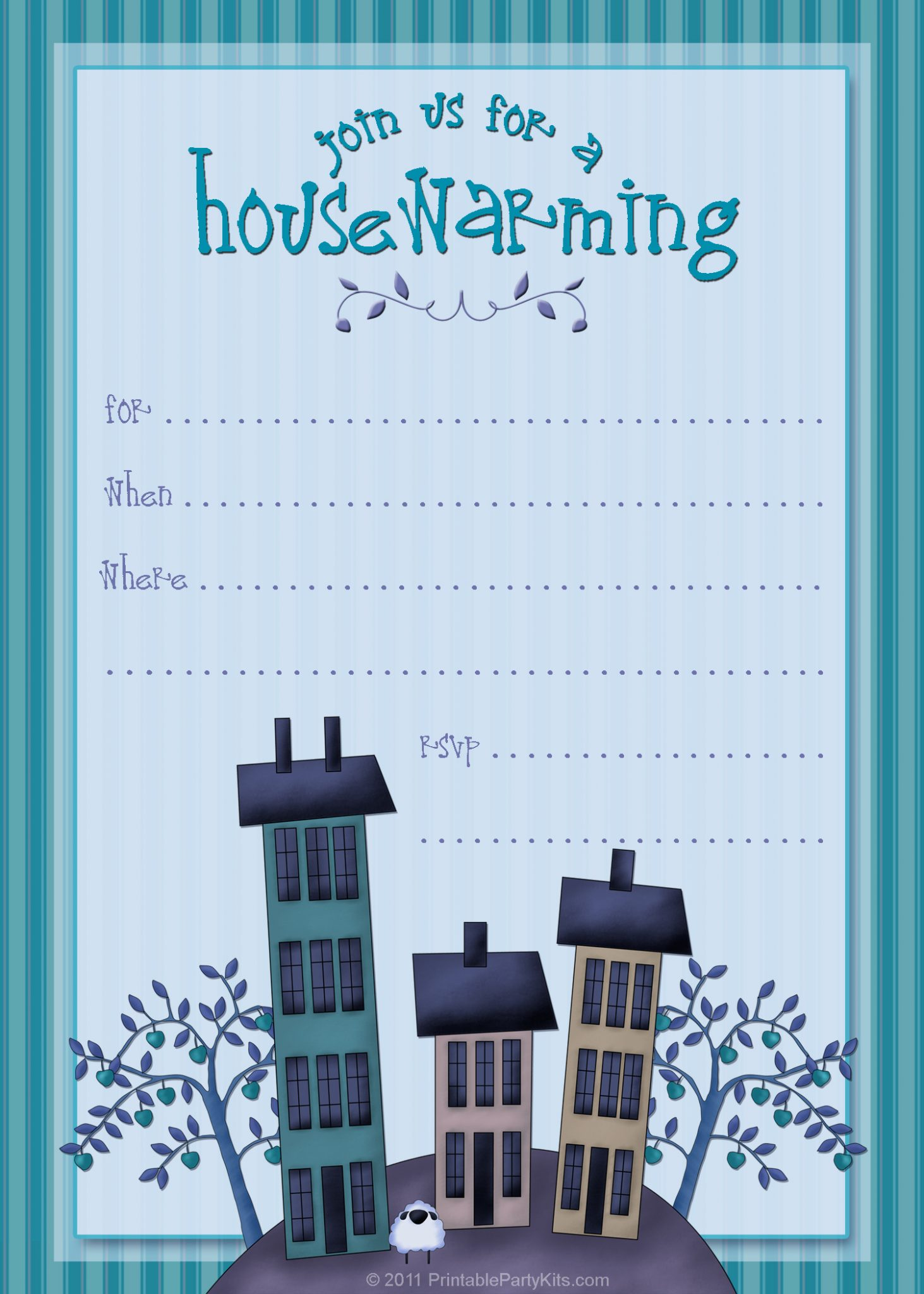 Selective image in printable housewarming invitations