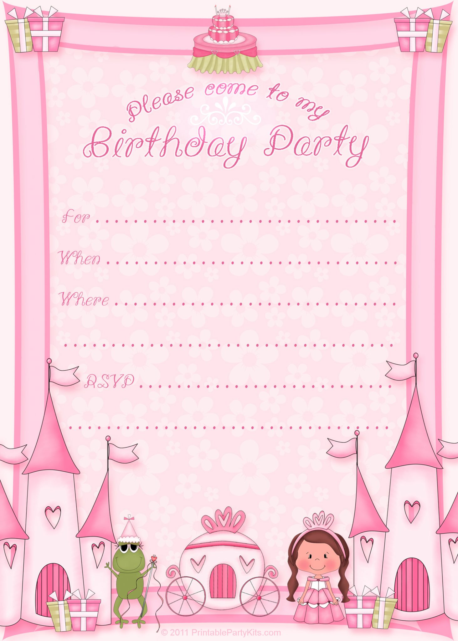 Click On The Printable Princess Birthday Party Invitation Template To The  Right To Enlarge And Download It.  Birthday Party Card Template