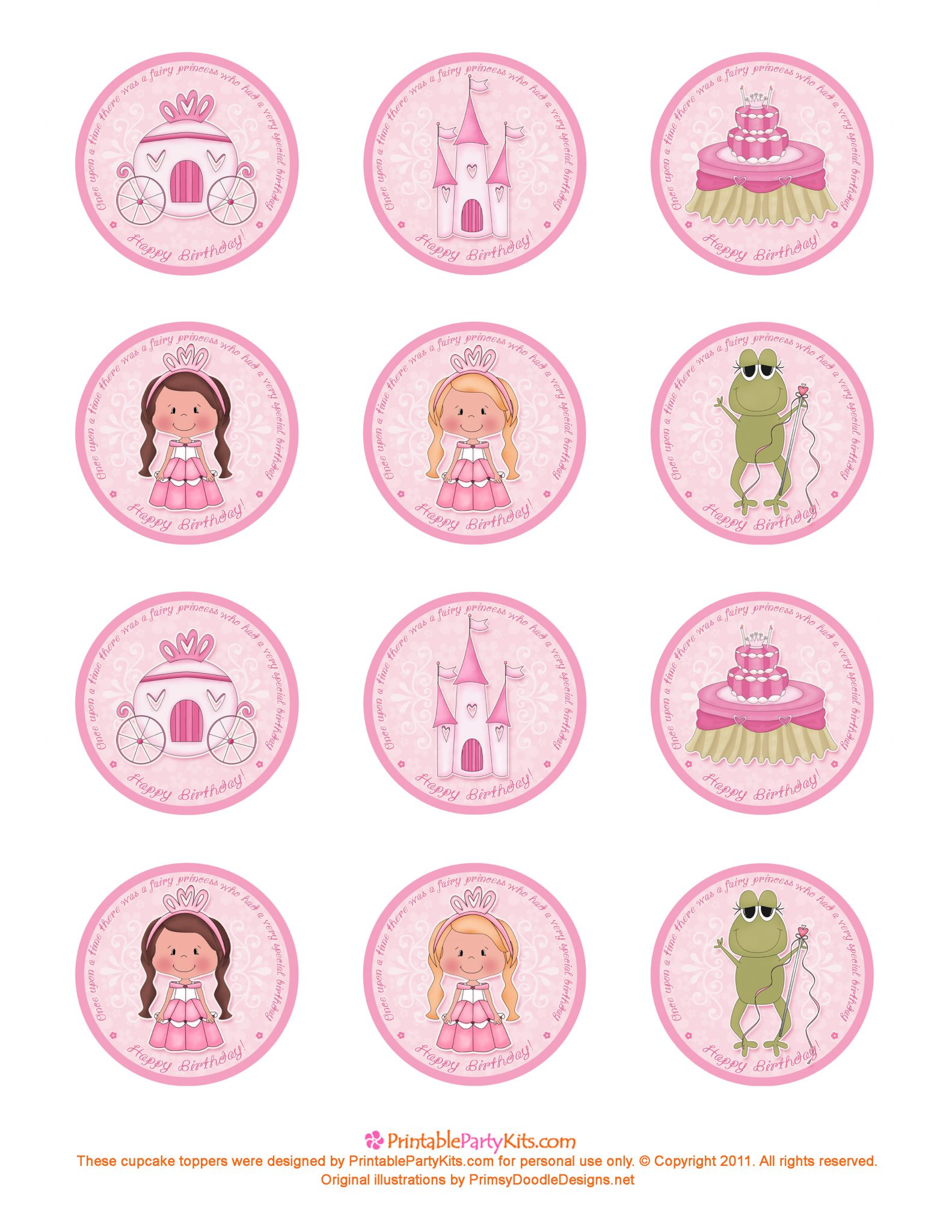 Cupcake Toppers : girls Printable Party Kits