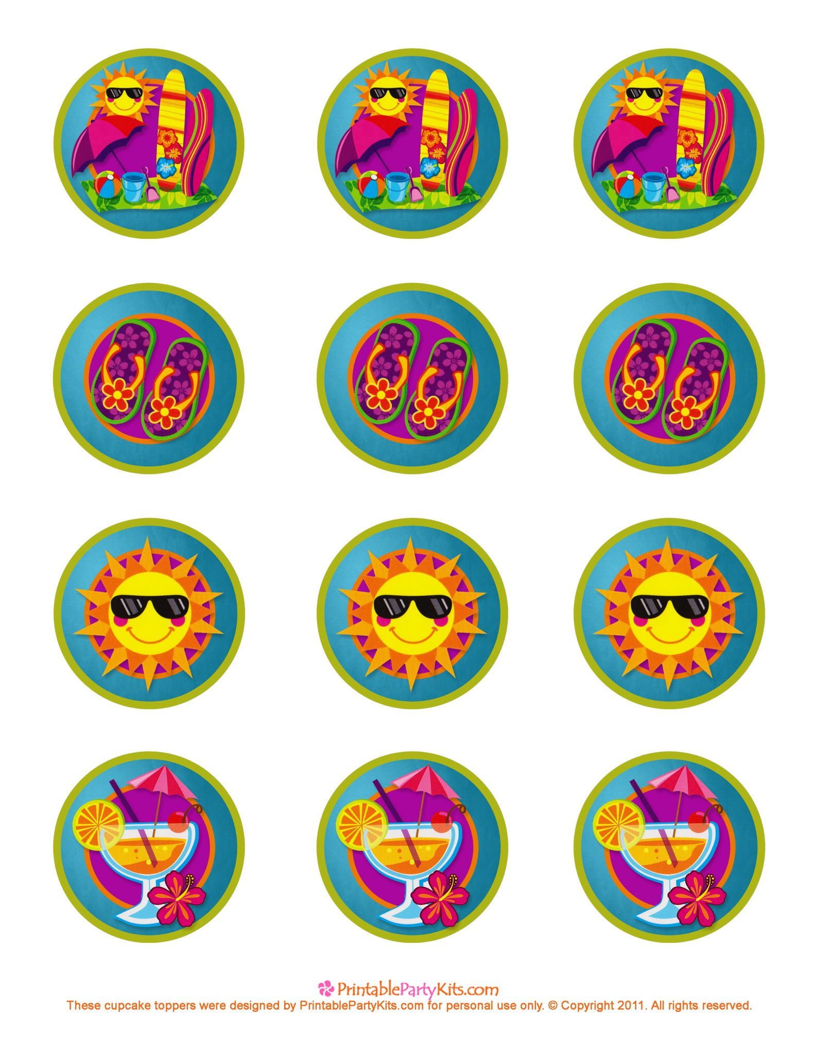 Cupcake Toppers : Summer Party Decorations: Cupcake Toppers Printable ...
