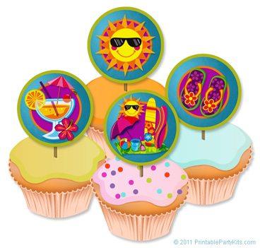 Toppers para cupcakes para fiesta hawaiana.