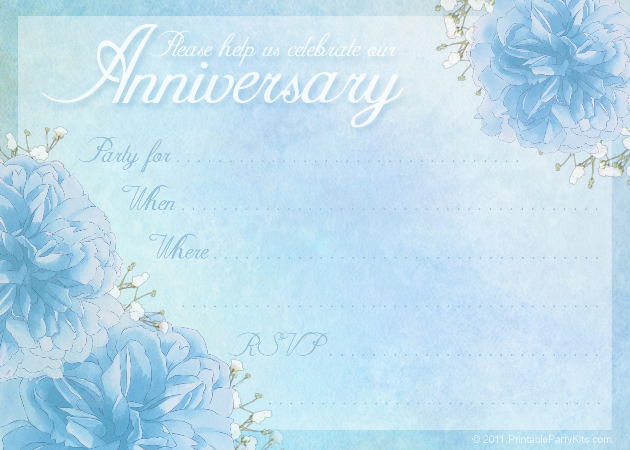 Printable Free Wedding Anniversary Party Invitation | Printable ...