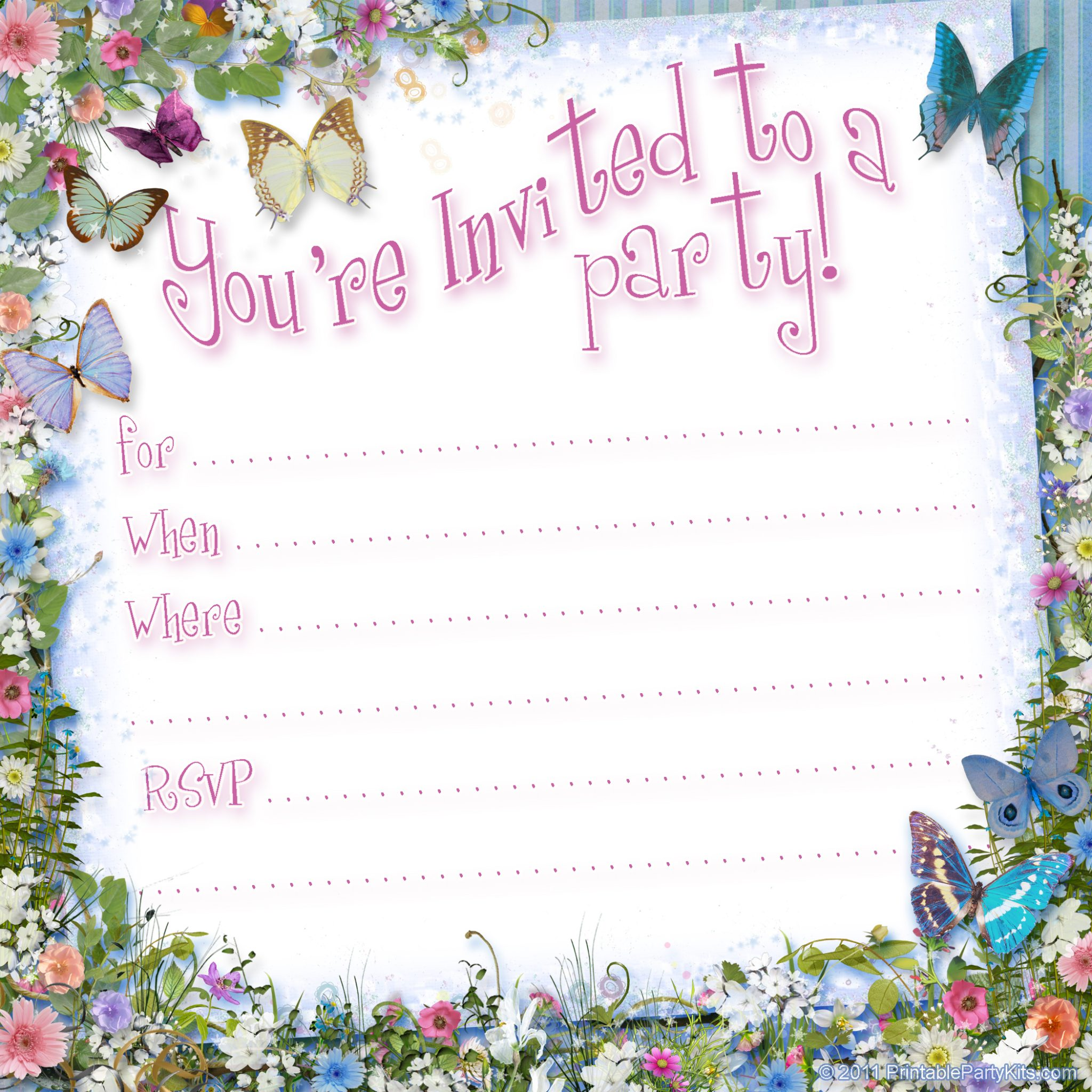 Free Printable Butterfly Party Invitation Template – Printable Birthday Party Invitation Cards