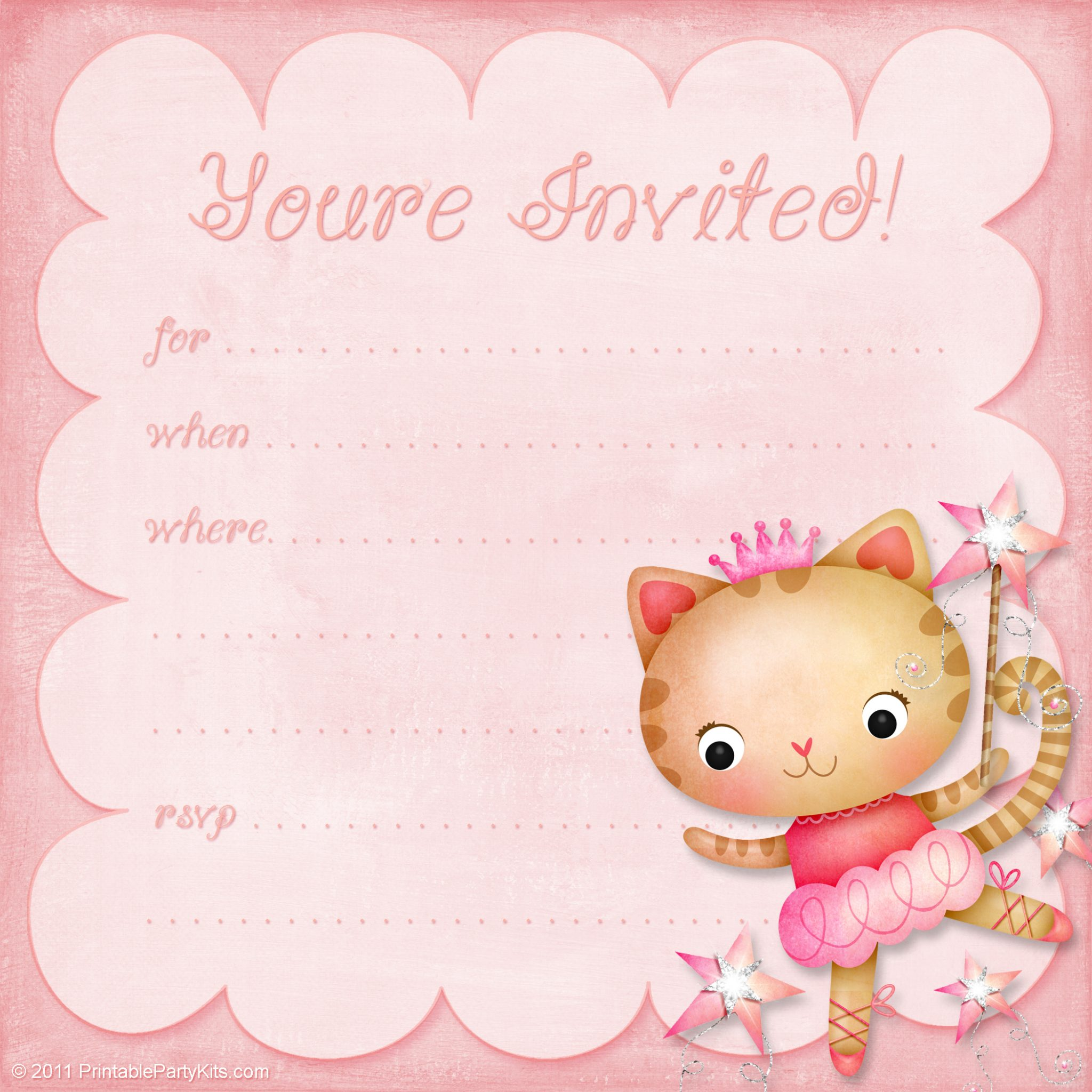 click on the free printable blank girls birthday invitation template below to enlarge and download it - Girl Birthday Party Invitations