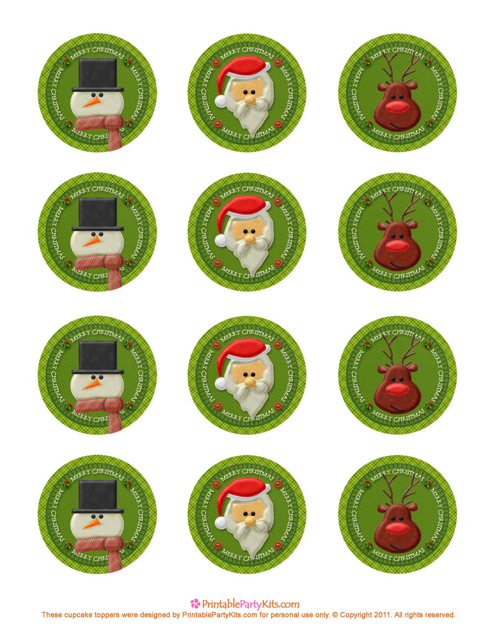 Imprimibles para cupcakes de Navidad y Año Nuevo.