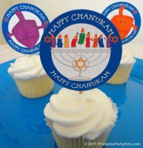 free Hanukkah cupcake toppers