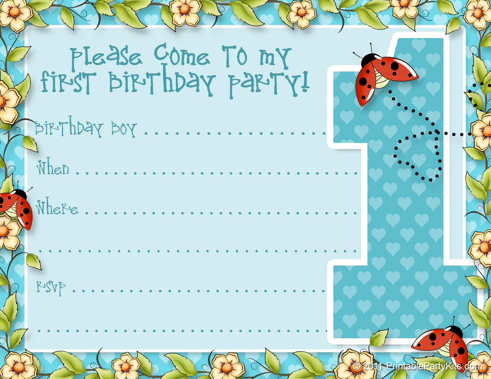 Printable 1st Birthday Party Announcements – First Birthday Printable Invitations
