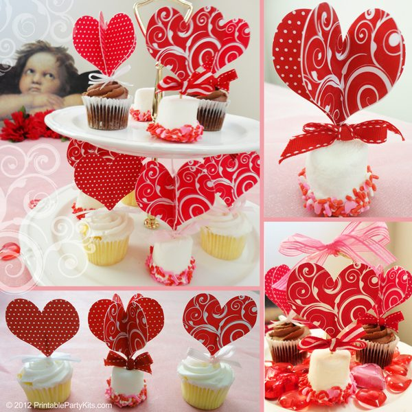 Free Valentine's Day heart cupcake picks toppers