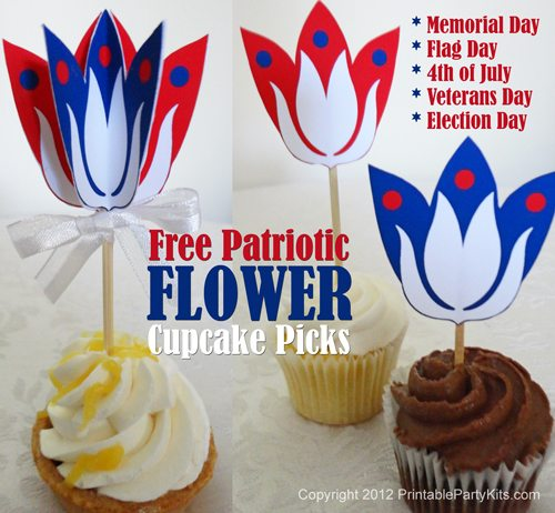 patriotic cupcakes toppers template