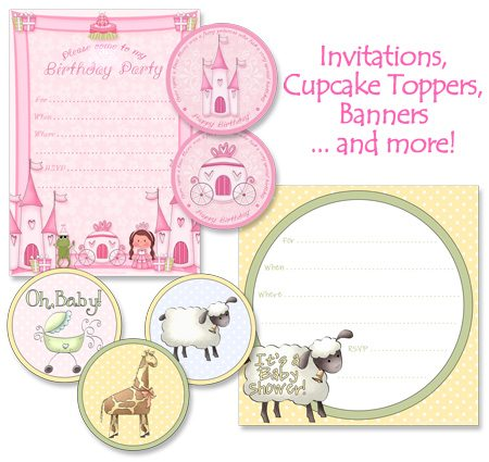 samples of artwork from Printable Party Kits