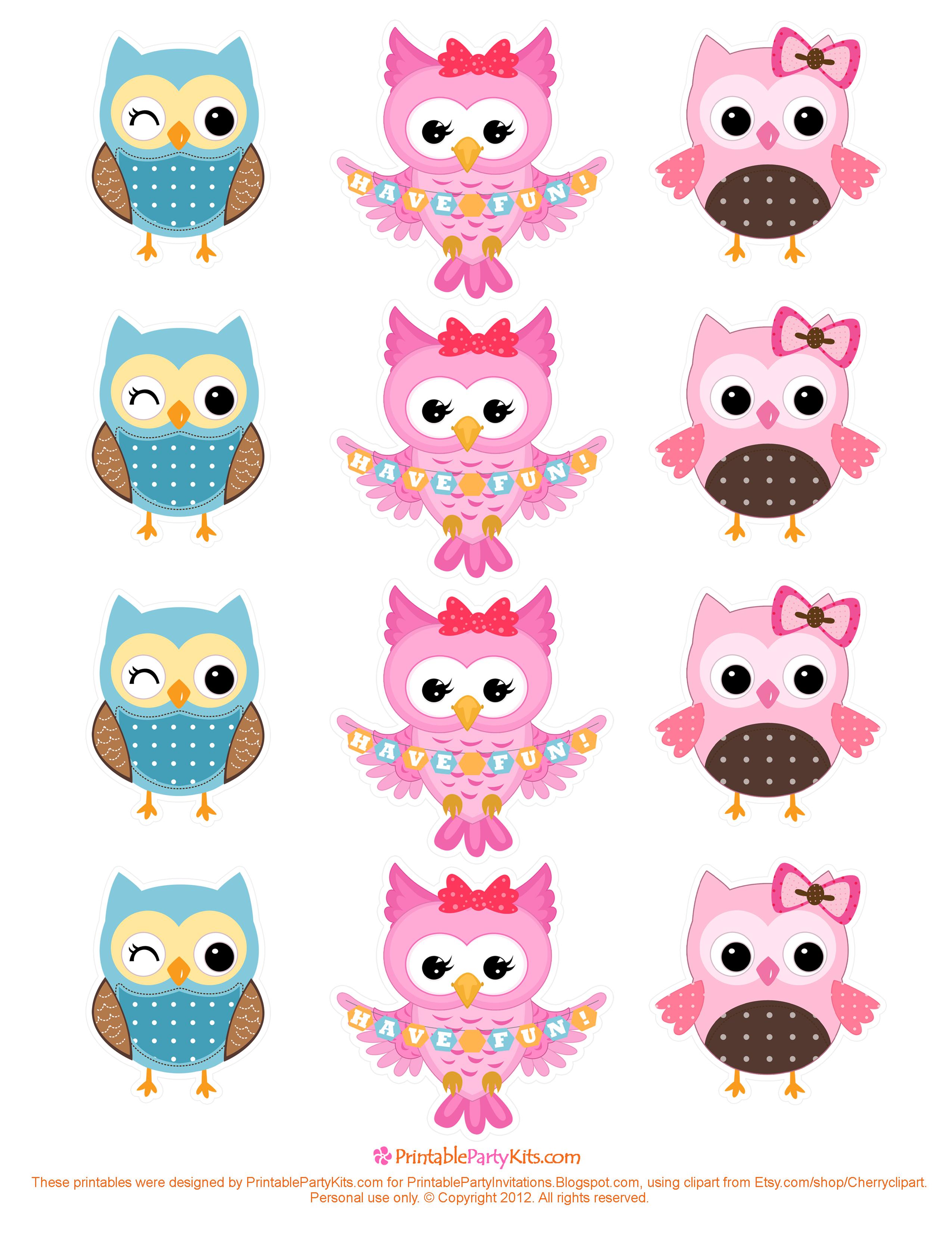 Free Printable Owl, Owl Cupcake Topper, Owl Free Printable ...