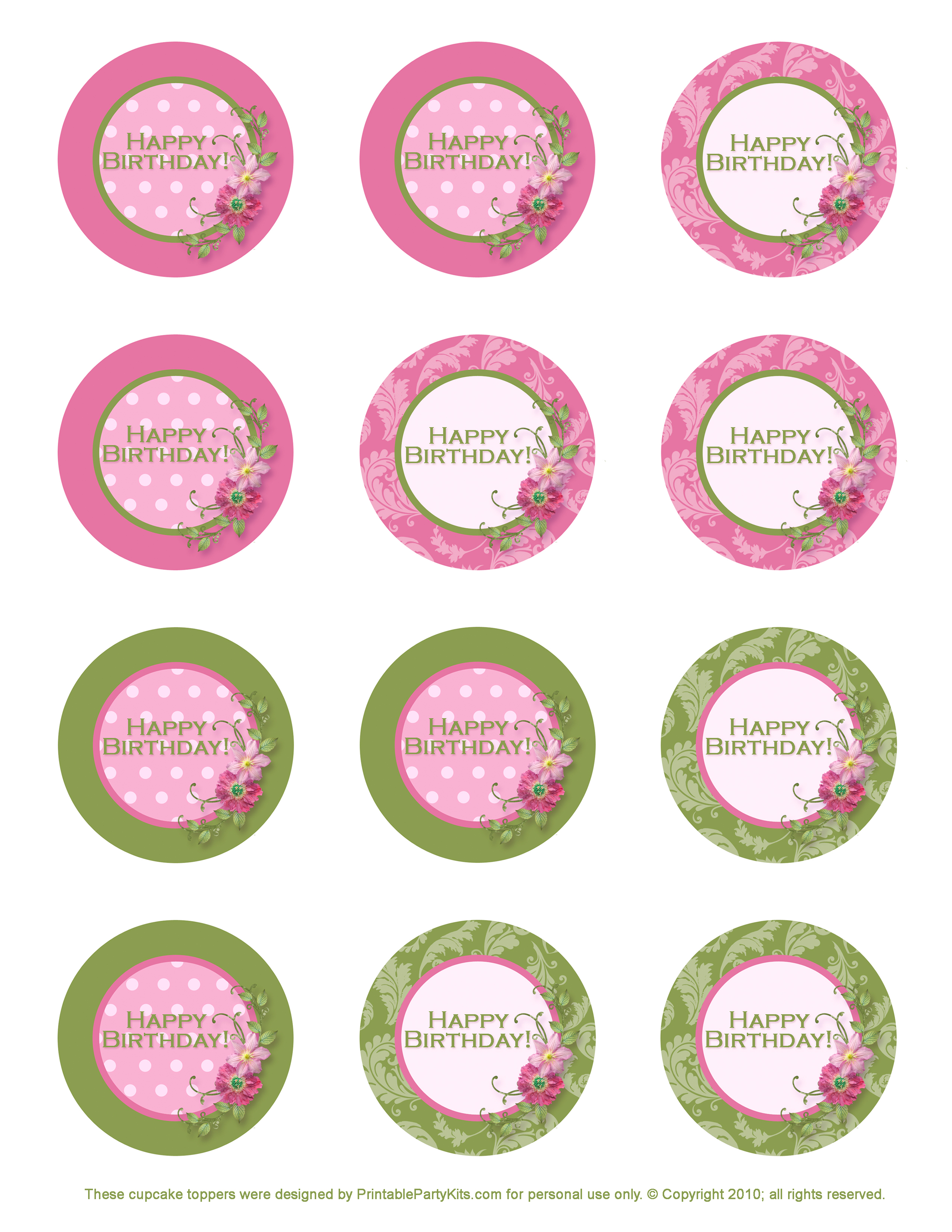 Freebie Birthday Cupcake Toppers - Printable Party Kits