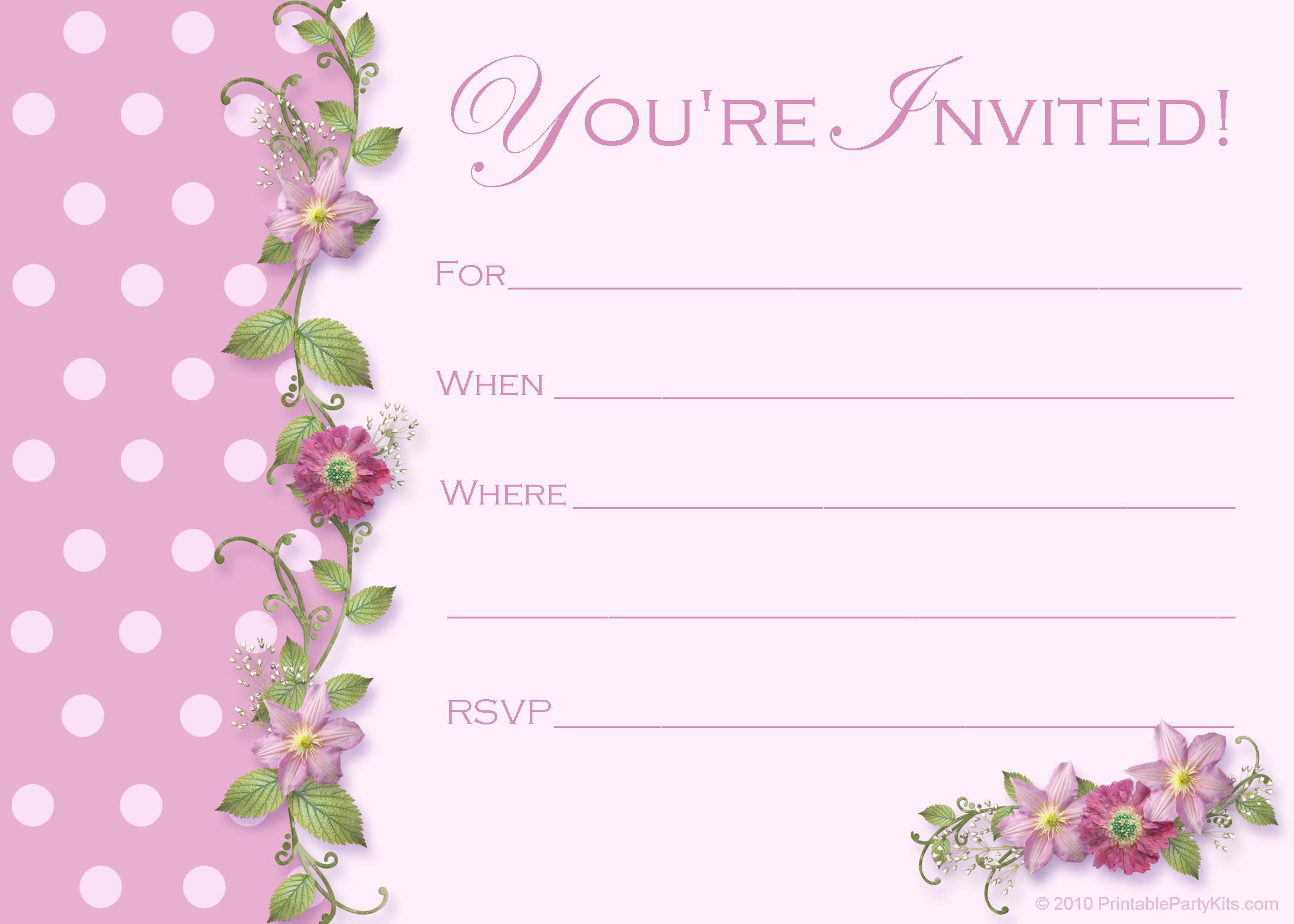 Free Pink Polka Dot Party Invitations - Printable Party Kits
