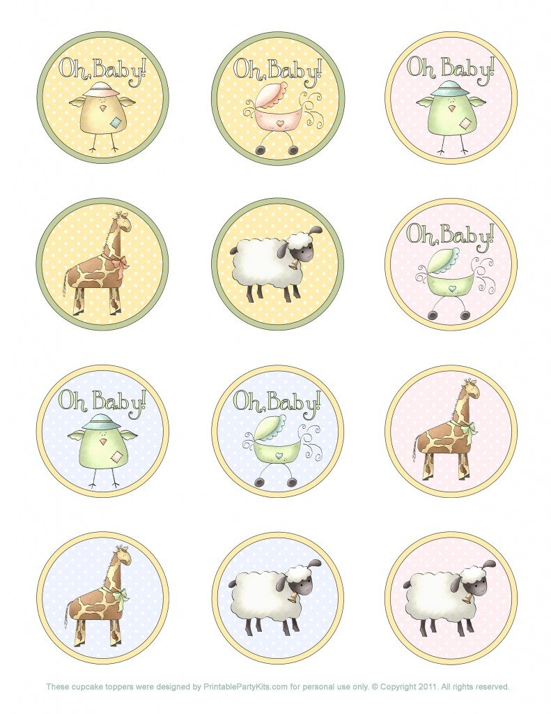 free printable baby shower cupcake toppers template