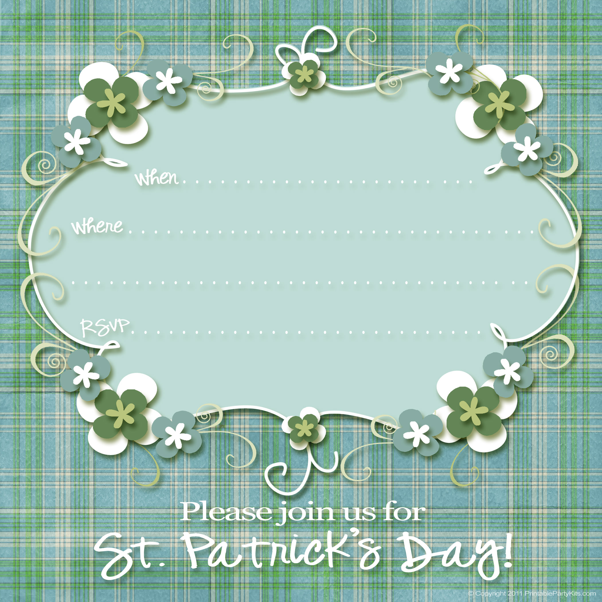 Free St. Patrick\'s Day Party Invitations - Printable Party Kits