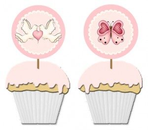free butterfly, heart and dove cupcake toppers