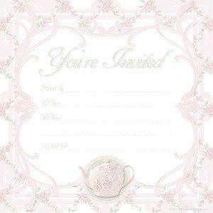 free printable pink Victorian tea party invitation