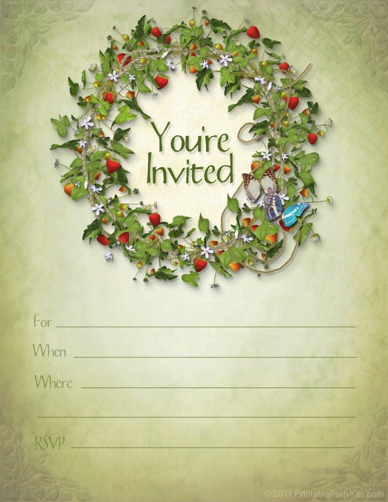 free printable Strawberry Fields birthday party invitation template