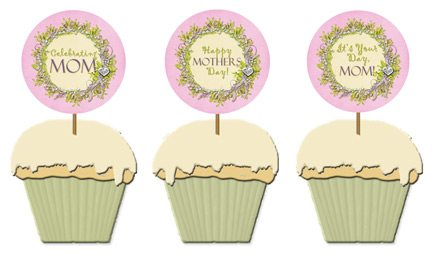 free printable Mothers Day cupcake toppers