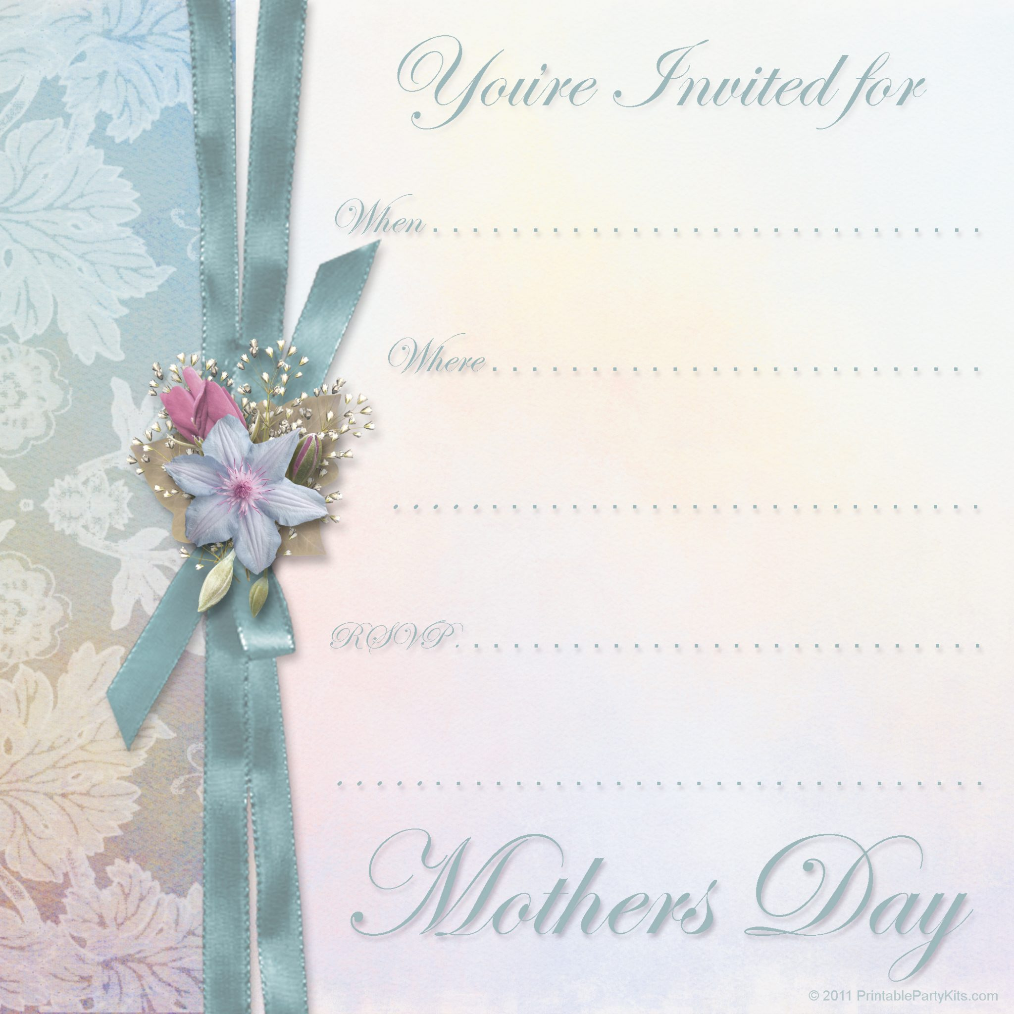 mothers day invitation template printable party kits. Black Bedroom Furniture Sets. Home Design Ideas