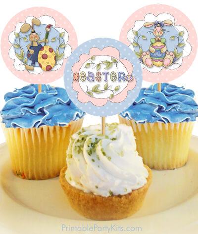 free printable Easter cupcake picks