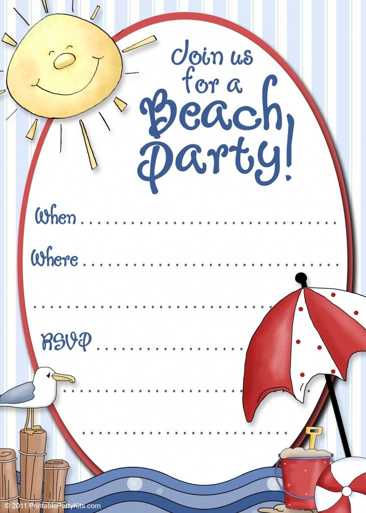 free printable beach party invitation template