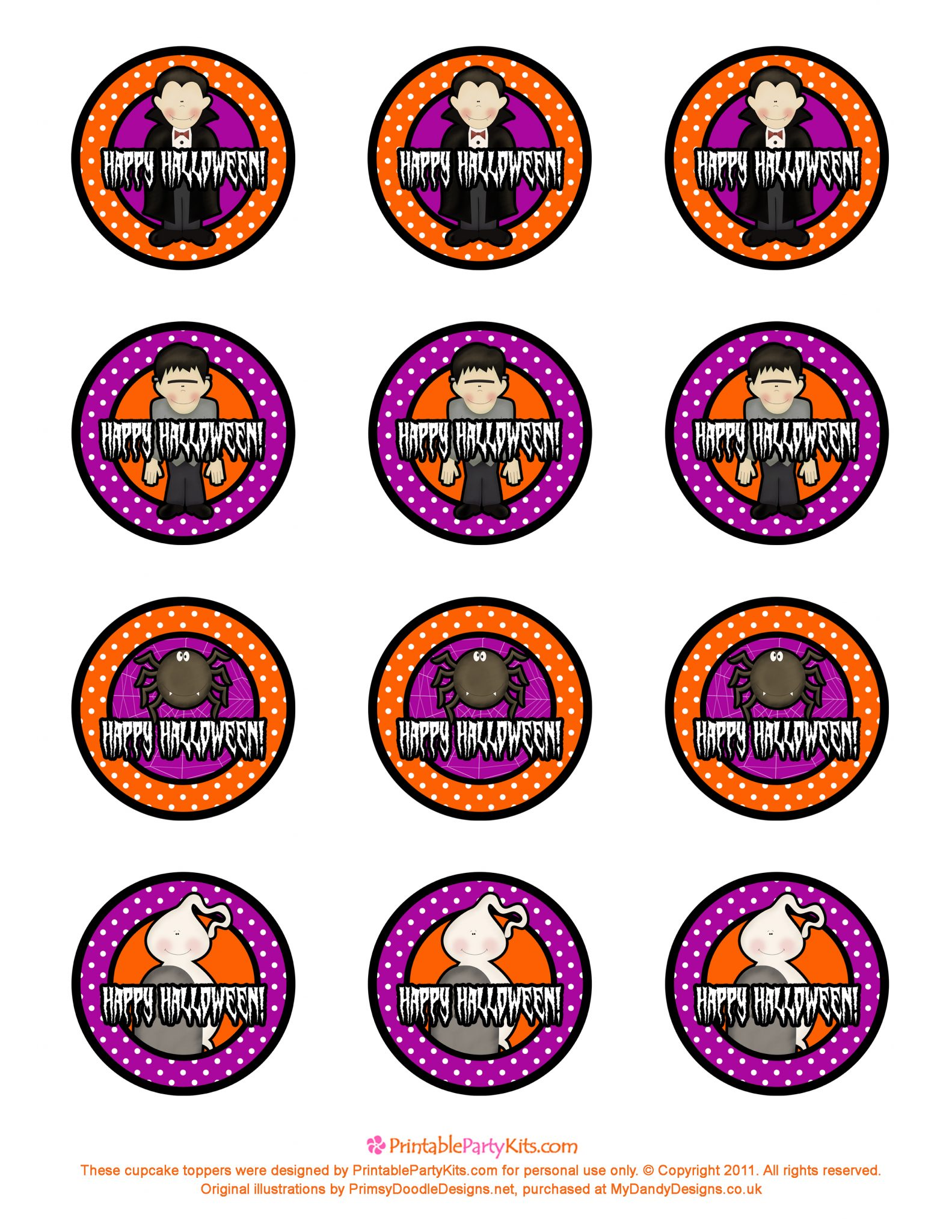 Free Halloween Cupcake Topper Template - Printable Party Kits