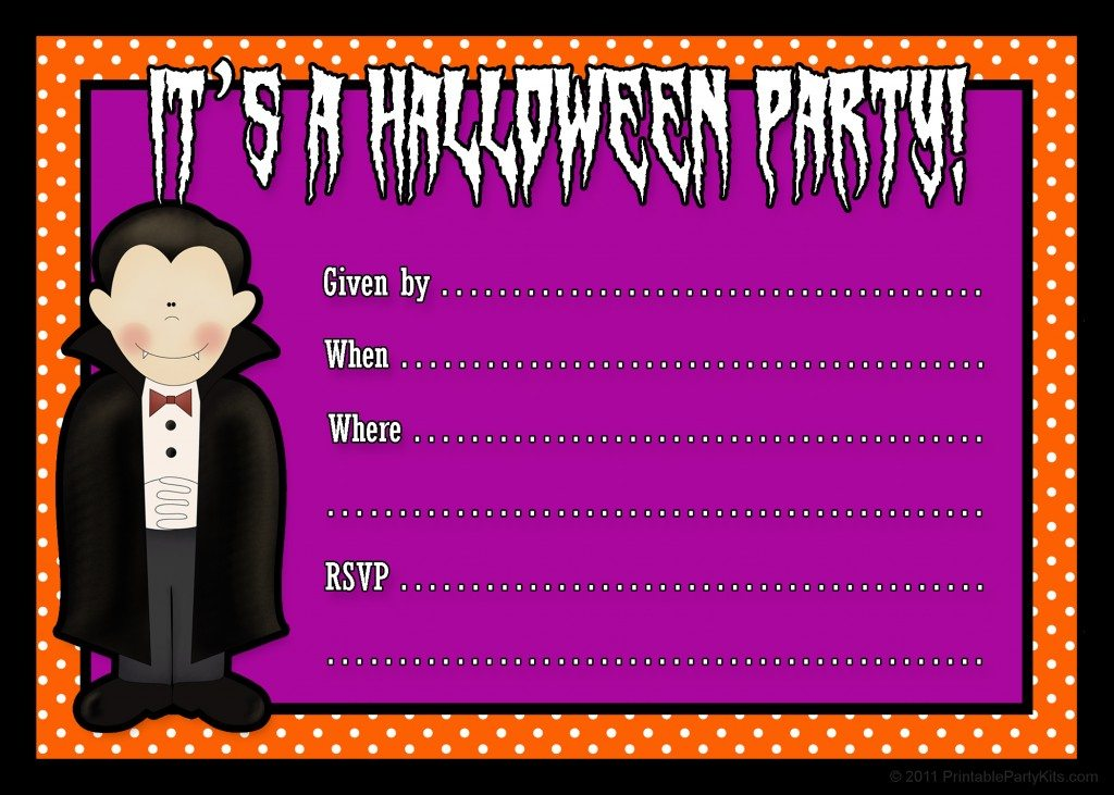 Free printable Halloween party invite template