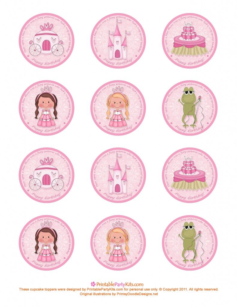 Free printable princess birthday party cupcake topper template