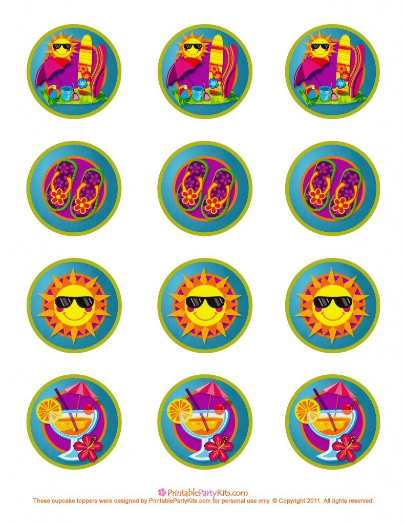 Free summer party decoration cupcake toppers
