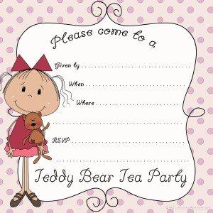 printable Teddy bear tea party invitation template
