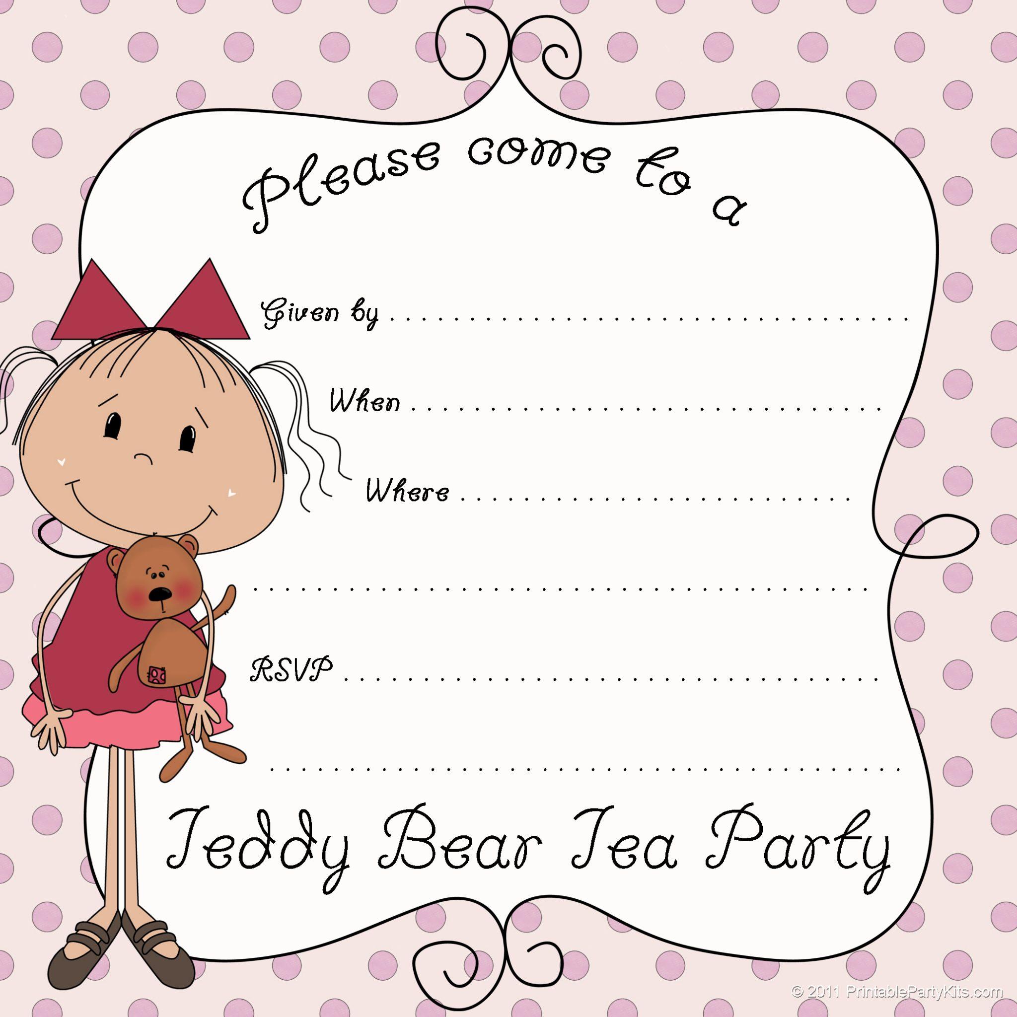 Free Printable Teddy Bear Tea Party Invitations - Printable Party Kits