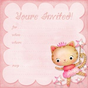 princess ballerina kitty girls birthday invitation