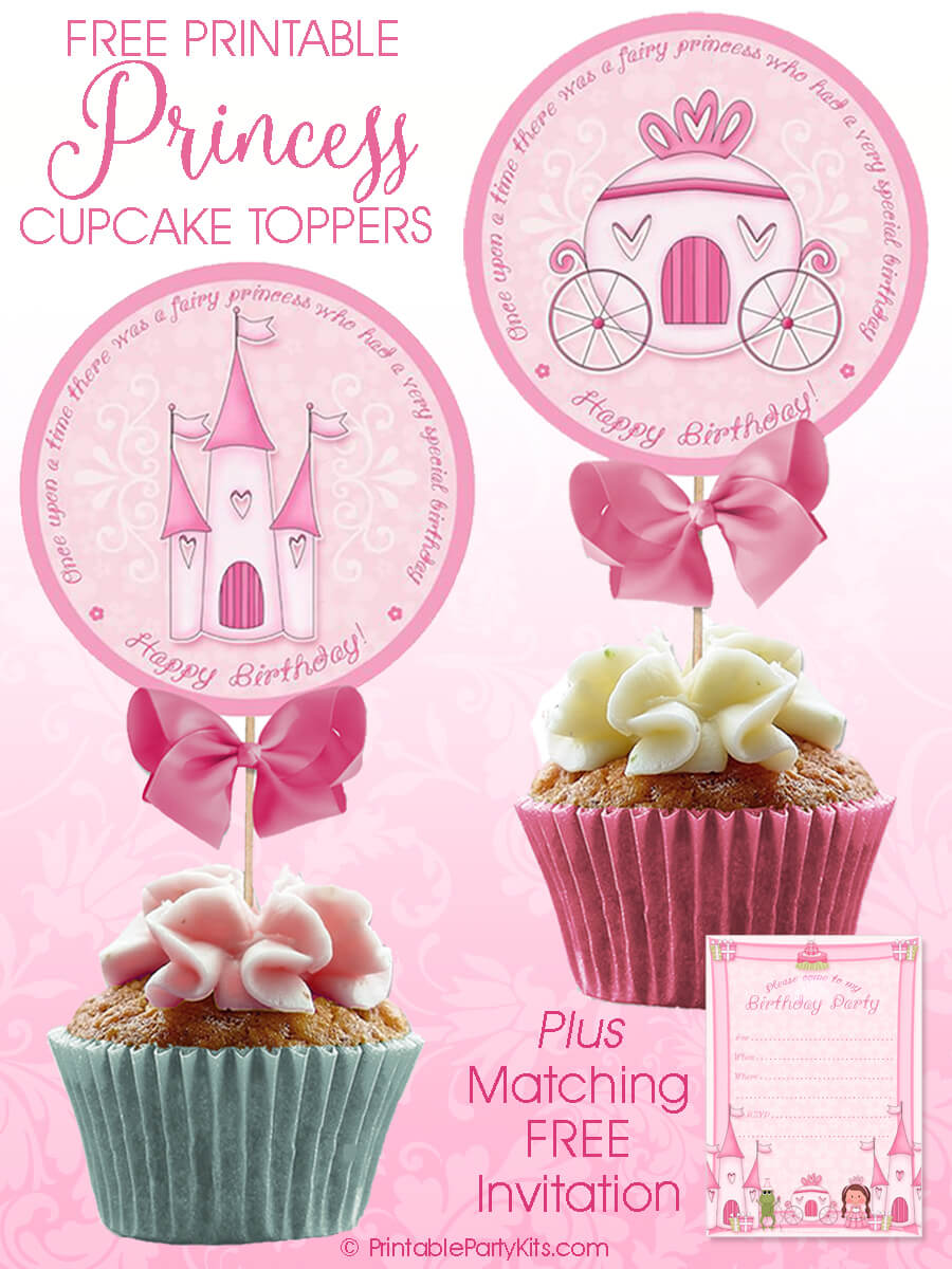 Printable pink princess birthday cupcake picks