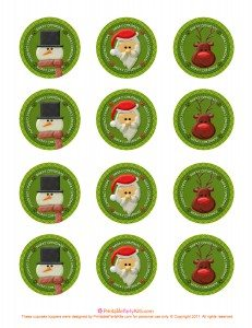 free Xmas cupcake toppers