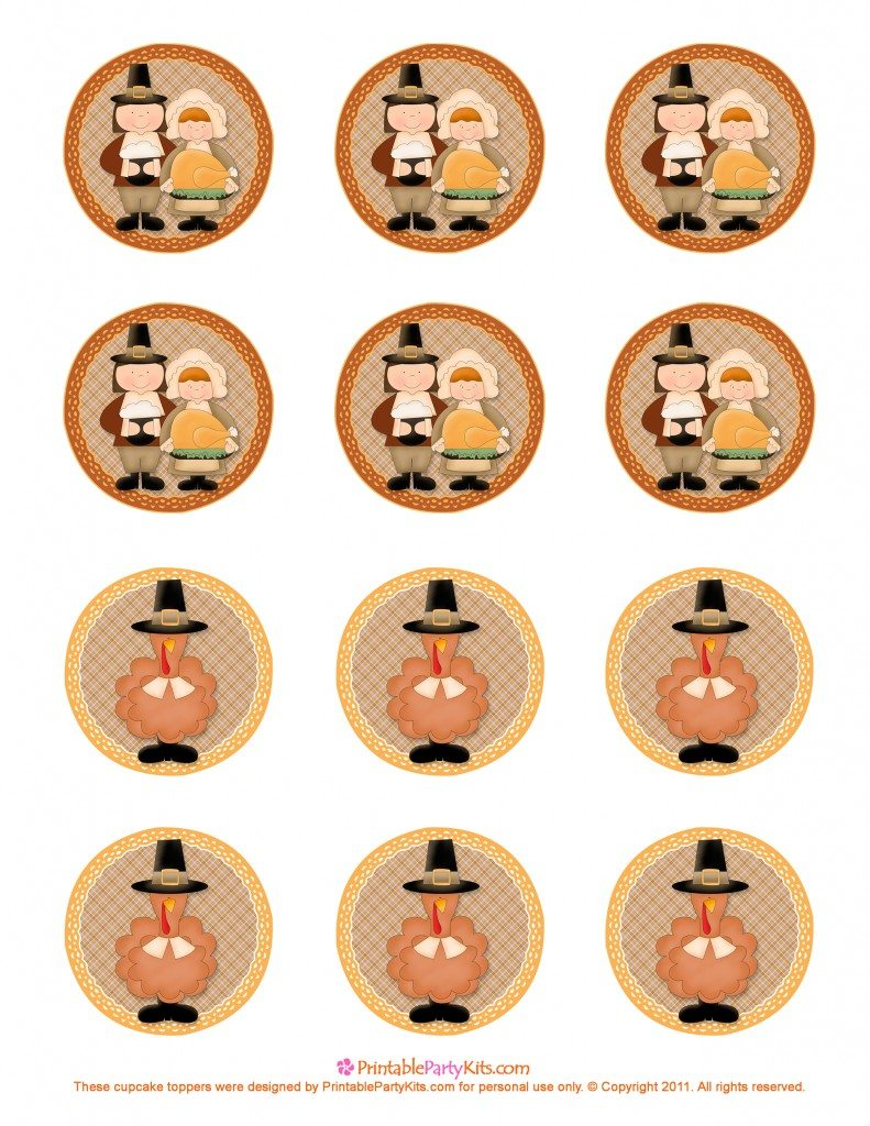 free printable Thanksgiving cupcake topper template