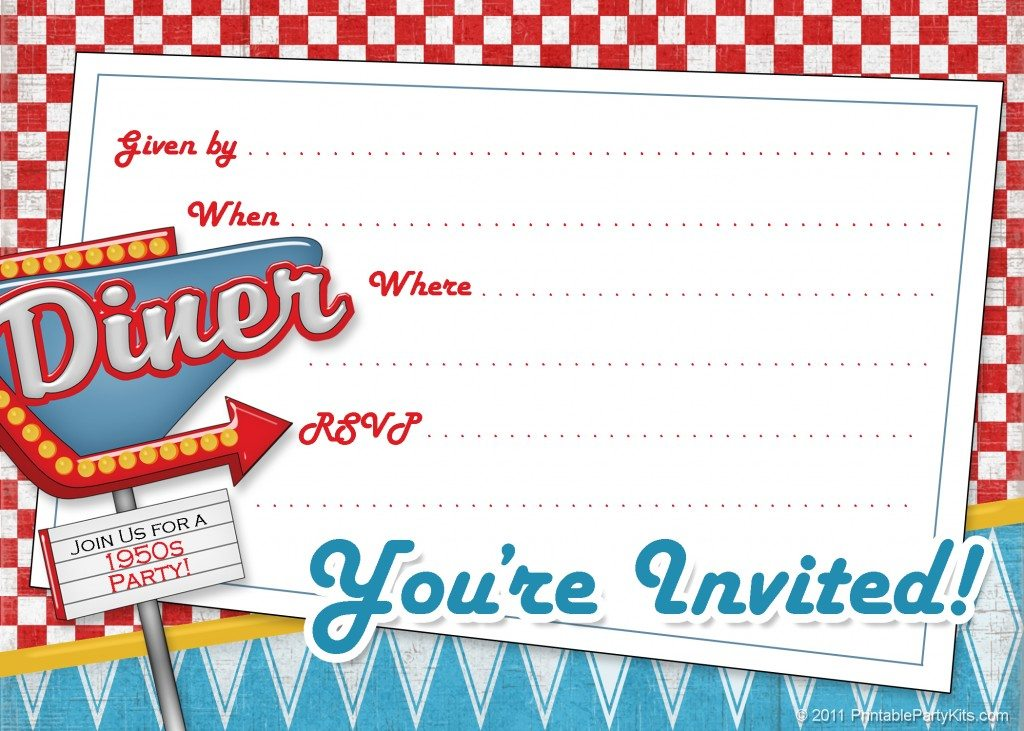 free retro 1950s party invitations