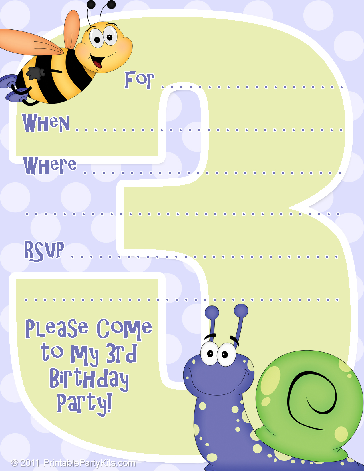 3rd Birthday Party Invitation Template - Printable Party Kits