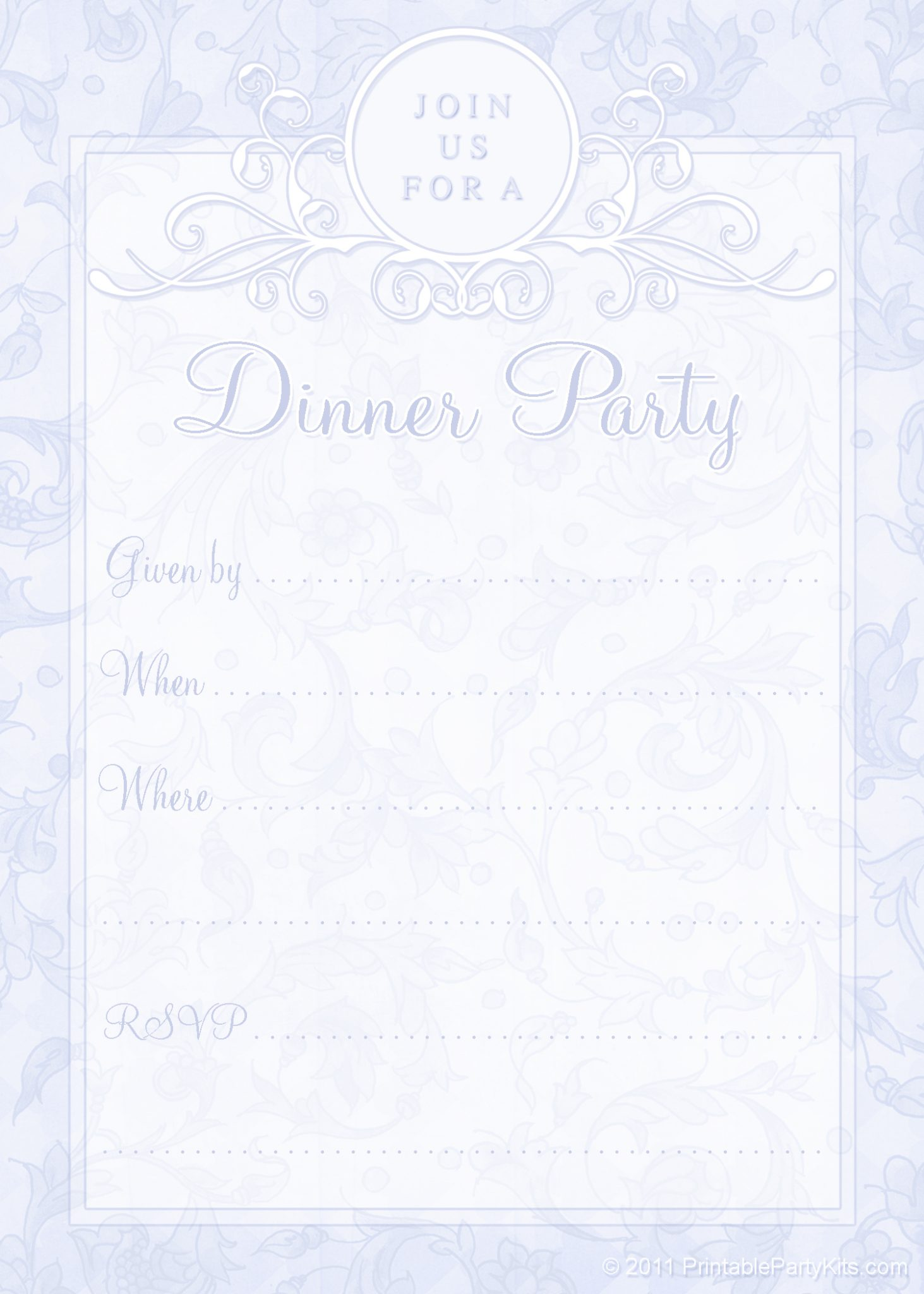 free printable dinner party invites printable party kits. Black Bedroom Furniture Sets. Home Design Ideas